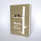Wedding guest book Brown Birds on white birch tree