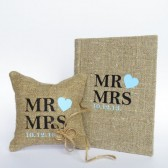 Set of 2 peaces Wedding rustic Burlap guest book and ring pillow Mr and Mrs text and light blue heart