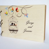 SALE Hand painted Wedding guest book Bridal shower engagement anniversary Vintage Birdcage and colorful leaves
