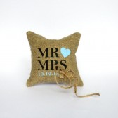 Wedding rustic natural linen Ring Bearer Pillow Mr and Mrs text and light blue heart