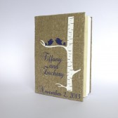 Wedding guest book Purple Birds on white birch tree