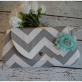 Grey Chevron Clutch