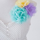 Fabric Flower Brooches - Aqua Blue, Yellow & Purple Shoulder Pin Set