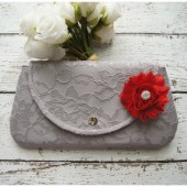 Grey Lace Clutch
