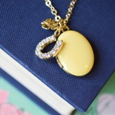 Lucky Horseshoe & Gold Clover Charms with Gold Locket