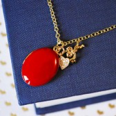 Cupid Angel & Heart Charm Necklace - Red Gold Enameled Locket