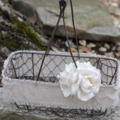 Flower Girl Basket Rustic Wedding, Pearls Burlap Linen Ribbon, and Roses Rustic Shabby Chic Wedding