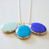 Enameled Pair of Oval Lockets - Your Color Choice