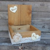 personalized rustic wedding advice / wishes box . rustic guest box . wooden guest book alternative . country barn cards holder