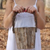Rustic Flower Girl Basket Tree Bark Rustic Woodland Barn Weddings :)