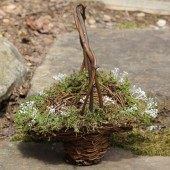 Flower Girl Basket Lined With Moss And Babys Breath Pearls or Crystals, Rustic Shabby Chic Weddings