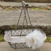 Flower Girl Basket Rustic Wire Vintage Inspired Silk Ribbon Color Choice Lace Rose