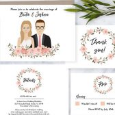 Custom Illustrated Wedding invite