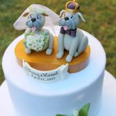 dog cake topper, custom cake topper, wedding cake topper, JMU Duke dogs cake topper, mascot cake topper