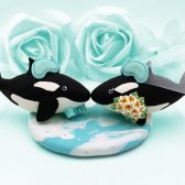 orca cake topper, beach cake topper, sea wedding, fish cake topper, animal cake topper, wedding cake topper, custom cake topper