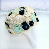 Navy and Mint Sola Flower and Lace Bride\'s Bouquet