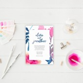 Watercolor Calligraphy Wedding Invitation Suite DEPOSIT - DIY, Paint, Handmade, Chic, Floral, Boho, Invite, Printable (Wedding Design #77)