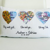 personalized pillow, custom pillow, heart pillow, map pillow, heart map, gift for couple