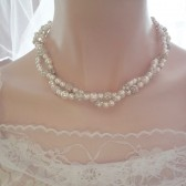 Twisted pearl wedding necklace