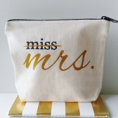 miss to mrs, makeup bag, gift for bride, newly engaged gift, makeup tote, makeup pouch