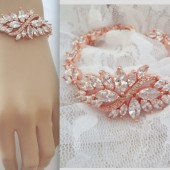 Rose gold crystal wedding bracelet