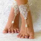 Ivory Beach anklets for bride, Bridal sandals, France Lace Anklet, Lace Wedding Shoes, Wedding Barefoot Sandals, Beach Shoes, Beach Sandals
