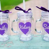Personalized mason jar tumblers for bridesmaids, bachelorette party favors