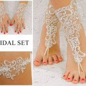 Bridal Set, Lace Wedding Gloves, Lace Garter, Beach Wedding Barefoot Sandals