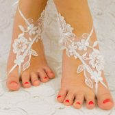 White with Pearl Thread, Beach wedding barefoot sandals, wedding shoes, wedding accessories, bridal lace shoes, wedding party, barefoot sandles