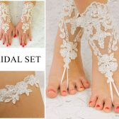 Bridal Set, Lace Gloves Fingerless, Beach Wedding Barefoot Sandals, Bridal Garter