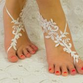 White with Pearl Thread, Barefoot sandles, Ivory Lace barefoot sandals, beach wedding shoes, wedding lace shoes, bridesmade gift, beach shoes
