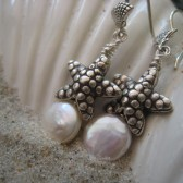 Starfish Wishes - Sterling Silver Starfish and White Coin Pearl Earrings