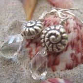 Princess Mermaid - Sterling Silver Nautilus Shell and Rock Quartz Earrings