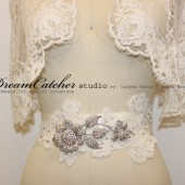 Miranda Vintage Alencon Lace Wedding Gown Belt with Crystal Brooch