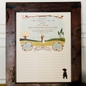 Bride & Groom illustrated Wedding Poster