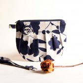 Pleated zippered cosmetic clutch bag, Bridal Wedding Clutch Bridesmaid Gift Idea Clutch, Wristlet Purse White Navy Blue Rosebud by Lolos