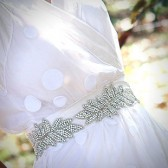 Livia crystal beaded sash/ leafy garland
