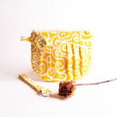 Bridal Wedding Clutch Pouch Wristlet Pleated Clutch Bag Yellow White Rose Bridesmaid Gift Idea Clutch Pouch