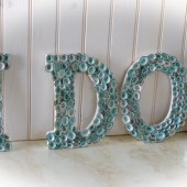 Beach Wedding Seashell Decor Letters - I Do - Limpet Shells Spell I Do - Aqua