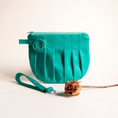 Pleated Cosmetic Clutch, Wristlet, Bridesmaid Gift Idea, Green Turquoise Rosebud, Bridal Wedding Wristlet, Clutch by Lolos