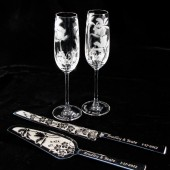 Beach Wedding Cake Server and Knife, Champagne Flute Set