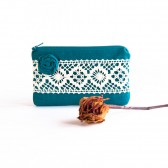 iPhone case Fabric wallet Bridal Wedding Clutch Bridesmaid Gift Idea Clutch, Pouch, Purse Blue teal Rosette Lace by Lolos