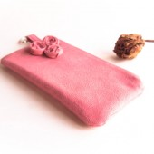 Cosmetic clutch, vegan faux suede clutch, bridesmaid gift idea, wedding bridal clutch, purse, pouch Pink Rose by Lolos