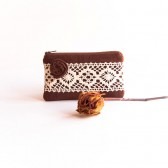Wedding Lace Clutch fabric wallet Chocolate Brown Rosette Lace Bridesmaid Gift Idea Clutch, Pouch, Purse by Lolos