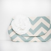 Day Clutch in Robin's Egg Chevron