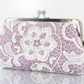 Bridal Bridesmaids White Lace Lilac Clutch Bag