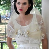 elilah Romantic Bridal shawl/ cape,made of vintage beading, flowers and tulle