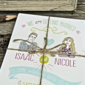 Wedding Invitation : Rustic boho illustration