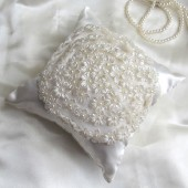 wedding ring pillow - pearly floral