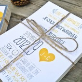 Wedding Invitation: Yellow and Gray Whimsical Heart